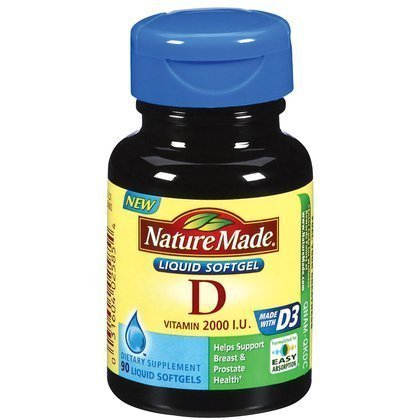 Nature Made Vitamin D3 2000 IU Liquid Softgels 90 ea (Pack of 2)