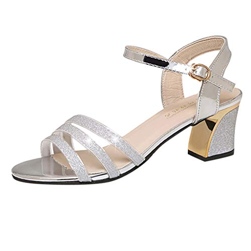(ERLOU Womens Summer Sandals Slippers Shoes Casual Fashion Open Toe High Heel Sandals Square Heel Buckle Strap Shoes (Silver, 6))