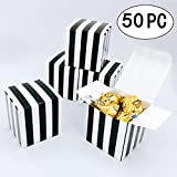 Small Cube Candy Boxes Bulk Black and White Strips Party Favors Gift Boxes Baby Shower Thank You Treat Boxes Graduation Party Boxes Supplies, 2x2x2 inch, 50pc