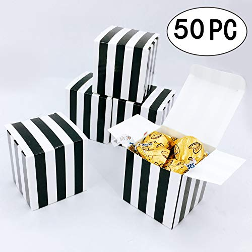 Small Cube Candy Boxes Bulk Black and White Strips Party Favors Gift Boxes Baby Shower Thank You Treat Boxes Graduation Party Boxes Supplies, 2x2x2 inch, -