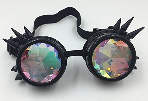 Glasses KING Vintage Spiked Steampunk Goggles Glasses With Elastic Band And Colored Diamond Lens - Retro Victorian… 5