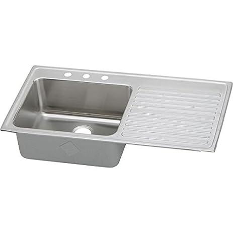 elkay ilgr4322l2 18 gauge stainless steel single bowl top mount kitchen sink with 2 faucet hole elkay ilgr4322l2 18 gauge stainless steel single bowl top mount      rh   amazon com