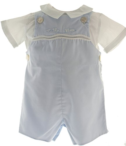 (Baby Boys Blue Train Shortall Romper Outfit White Shirt Feltman Brothers)