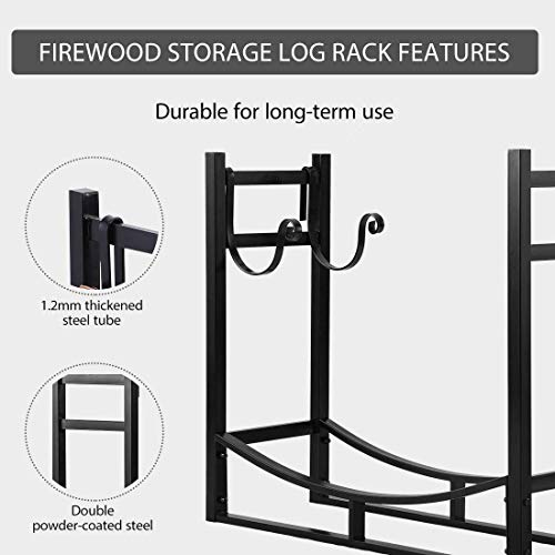 VIVOHOME 3ft Heavy Duty Indoor Outdoor Firewood Storage Log Rack with Kindling Holder