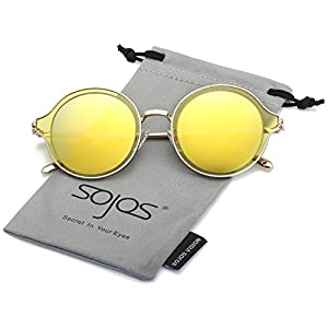 SojoS Round Polarized Sunglasses Metal Frame Flat Lens Unisex Glasses SJ1058 With Gold Frame/Yellow Mirrored Lens