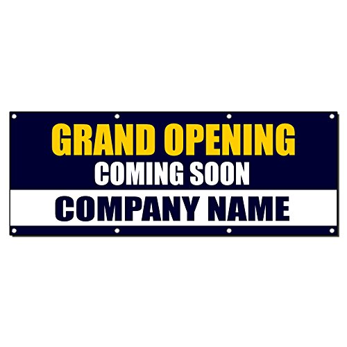 Grand Opening Coming Soon Custom Company Name Banner Sign 2' X 4' /W 4 Grommets