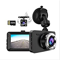 """Dash Cam Front and Rear Car Camera, Dual Lens Drive Recorder Dashcam Dashboard with SD Card, 1080P Full HD, 3.0"""" Screen…"""