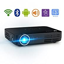 WOWOTO H8 Video Projector DLP LED 1280x800 HD Support 1080P Android System WiFi Bluetooth Home Theater Portable Mini Cinema USB TV AV SD HDMI Game Multi-screen Sharing Touch Control Projectors Black