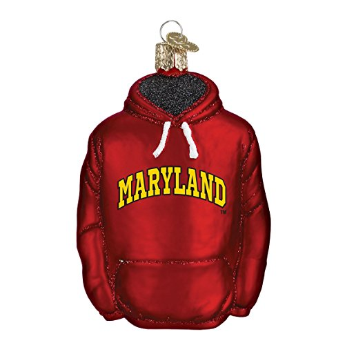 Old World Christmas University of Maryland Hoodie Glass Blown Ornament