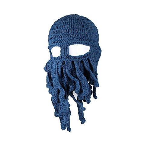 BIBITIME Crochet Octopus Tentacle Beanie Hat Squid Mask Cap Knitted Beard Caps (One size, Dark -