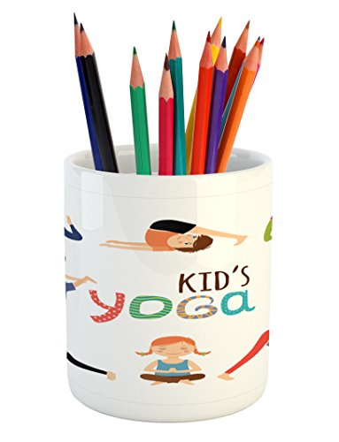 Ambesonne Yoga Pencil Pen Holder, Kids in Different Poses Fu