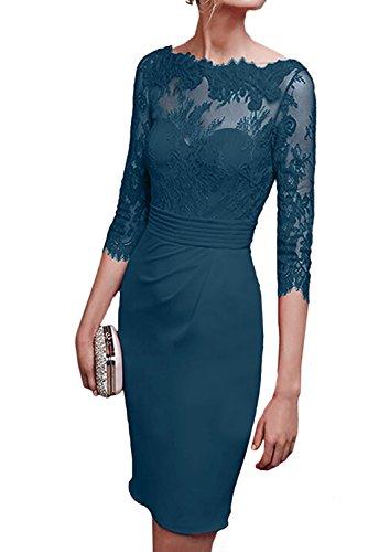 Ballkleider Abendkleider Braut Etuikleider Blau Promkleider Chiffon Blau Tinte Marie Kurz Damen Knielang La Royal Spitze w0x548w7q
