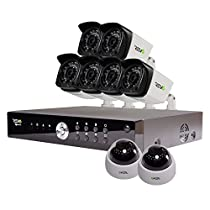 REVO America Aero HD 1080p 16 Ch. Video Security System with 8 Indoor/Outdoor Cameras, White/Black (RA161D2GB6G-2T)