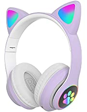 Leuke LED Cat Ear Opvouwbare Cat Ear-koptelefoon Muziekhoofdtelefoon Gaming-koptelefoon met microfoon Geschikt voor laptops en smartphones,Purple