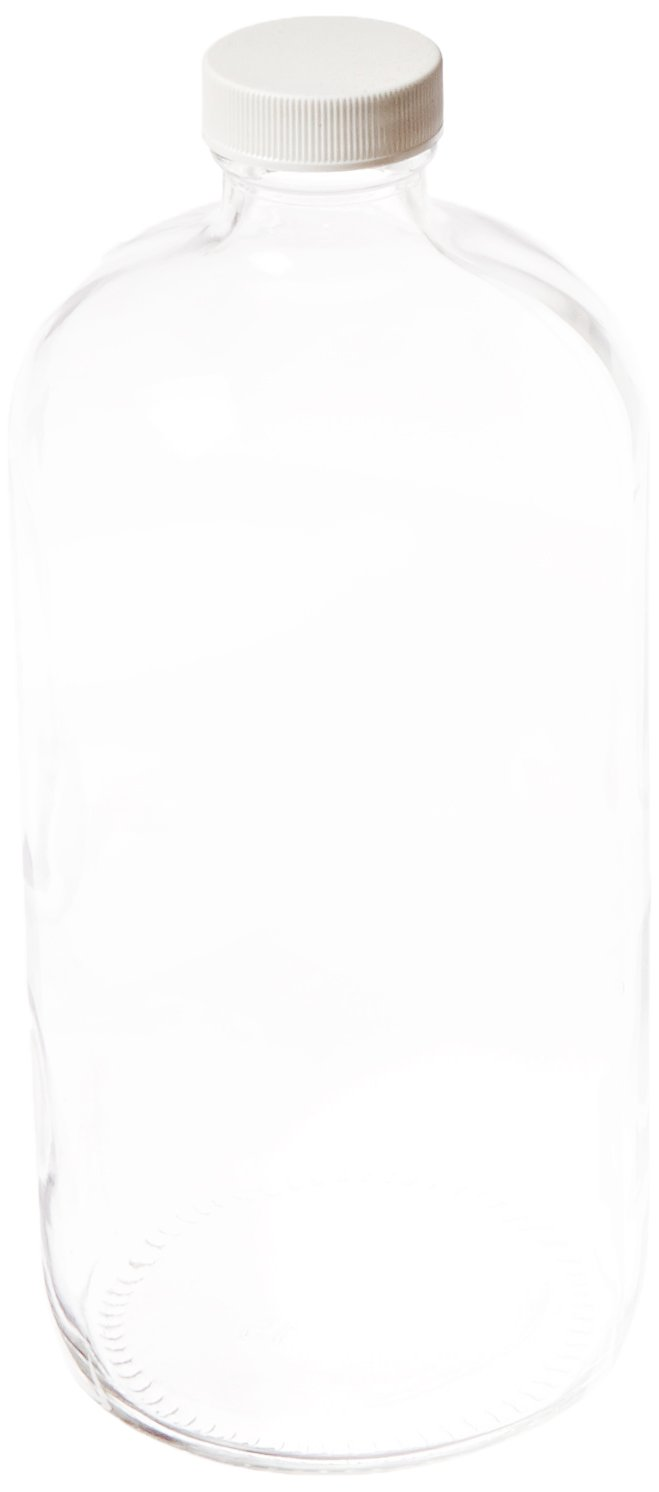 JG Finneran D0154-32 Clear Borosilicate Glass Standard Boston Round Bottle with White Polypropylene Closure, Unlined, 33-400mm Cap Size, 32oz Capacity (Pack of 12)