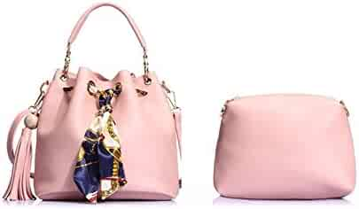 34c6a2d6b8 Toping Fine 2 Set Women Bucket Bag 2016 Tassel Composite Handbag Luxury  Brand Designer PU Leather