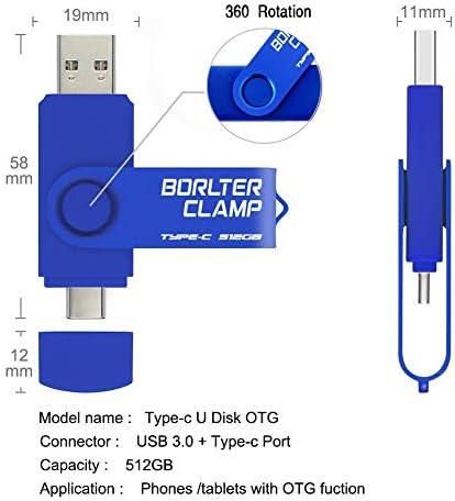Type C Usb Stick 512gb Borlterclamp 2 In 1 Otg Computer Zubehör