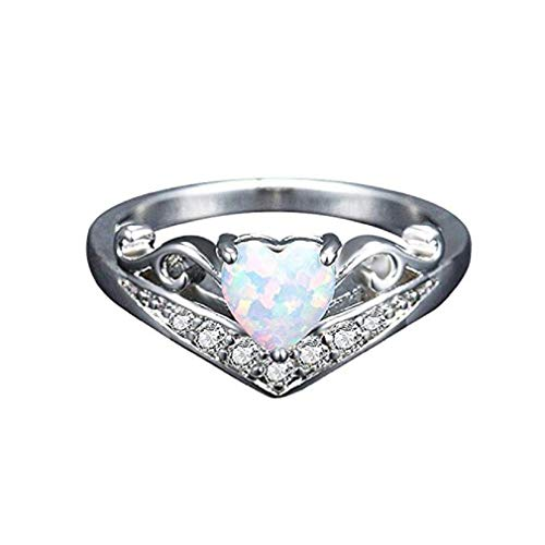 (Noopvan Fashion Gemstone Ring, New Exquisite Creative Lady Heart Shape Women's Silver Ring Oval Cut Fire Opal Diamond Band Ring (Sliver, 10))
