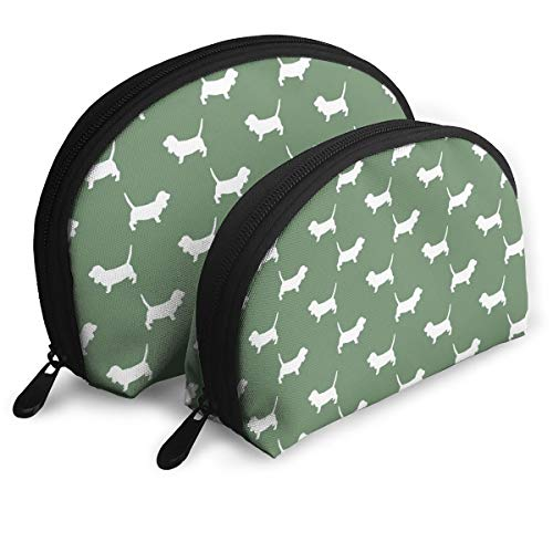 Basset Hound Silhouette Pattern Multifunction Cosmetic Bag Travel Makeup Bag Hanging Toiletry Bag Zippered Organiser Bathroom Bag Set of 2 for Women Girls