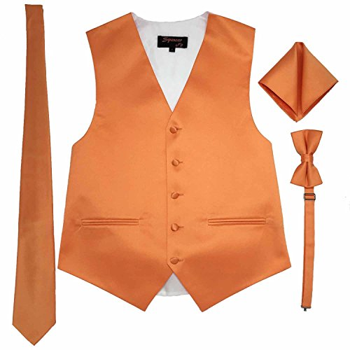 (Spencer J's Men's Formal Tuxedo Suit Vest Tie Bowtie and Pocket Square 4 Piece Set Variety of Colors (M (Coat Size 38-41), Orange))