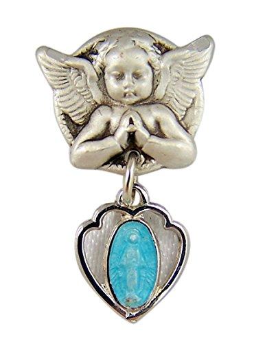 Sterling Silver Guardian Angel Blue Enamel Heart Miraculous Medal Baby Bar Pin, 1 Inch