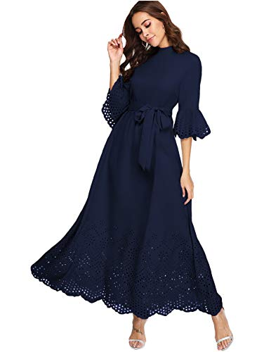 - Milumia Women's Scalloped Laser Cut Flounce Sleeve Hem Self Belted Maxi Dress Navy Large