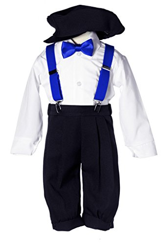 Boys Black Knicker Set with Royal Blue Suspenders & Bow Tie ()