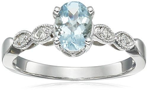 (14k Gold Aquamarine and Diamond Ring, Size 7)