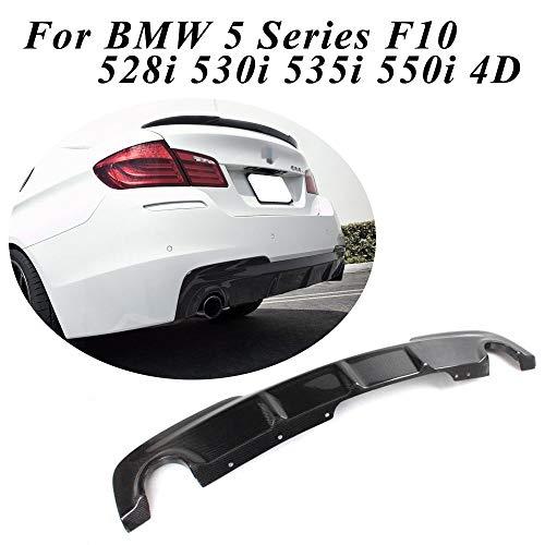 jcsportline Carbon Fiber Rear Diffuser fits BMW 5 Series F10 M-Sport Bumper 528i 530i 535i 550i 2012-2016 (Single Muffler Twin Outlet)