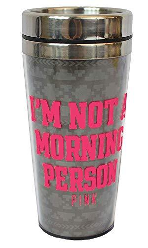 Victoria Secret PINK Bling Coffee Tumbler mug 13.5oz, I'M NOT A MORNING - Tumbler Secret Pink Victoria