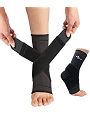 ABIRAM Foot Sleeve (Pair) with Compression Wrap -Ankle Brace For Arch & Ankle Support–Football Basketball Volleyball Running -For Sprained Foot Tendonitis Plantar Fasciitis