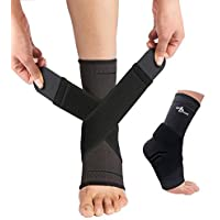 JUPITER Foot Sleeve (Pair) with Compression Wrap, Ankle Brace For Arch, Ankle Support, Football, Basketball, Volleyball…