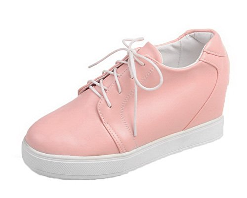 Round Shoes Low AmoonyFashion Pumps Up PU Pink Toe Womens Heels Solid Lace nBBqHI