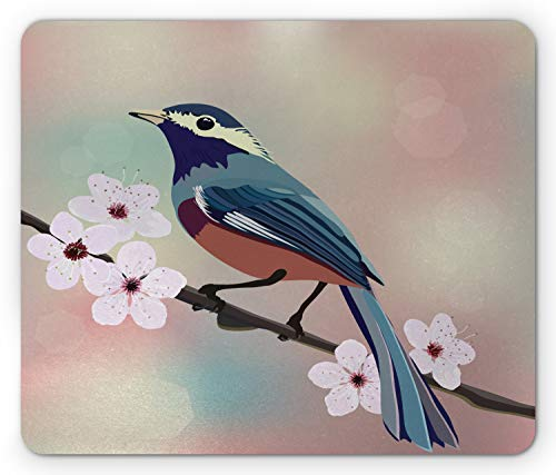 (Ambesonne Almond Blossom Mouse Pad, Sparrow Perching on a Japanese Sakura Tree Branch with Blurred Background, Standard Size Rectangle Non-Slip Rubber Mousepad, Multicolor)