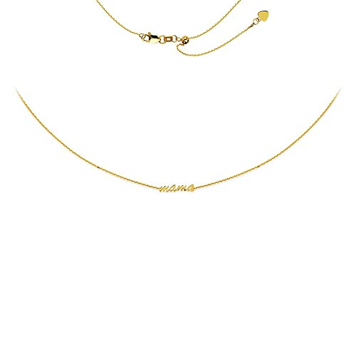 82be2701f1318 14k Yellow Gold Script Mama Adjustable Choker Necklace Silicon Bead ...