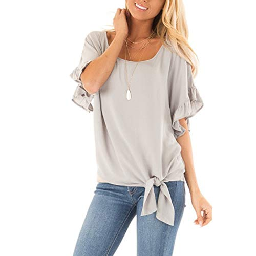 (Fastbot Womens Short Sleeve O Neck Patch Tee Casual Daily T-Shirt Tops Gray)