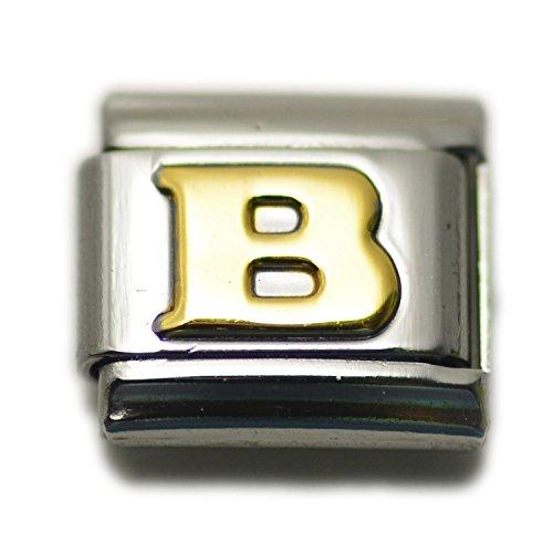 - Dolceoro Initial B Letter Alphabet, 9mm Type Italian Modular Charm Bracelet Link - Stainless Steel