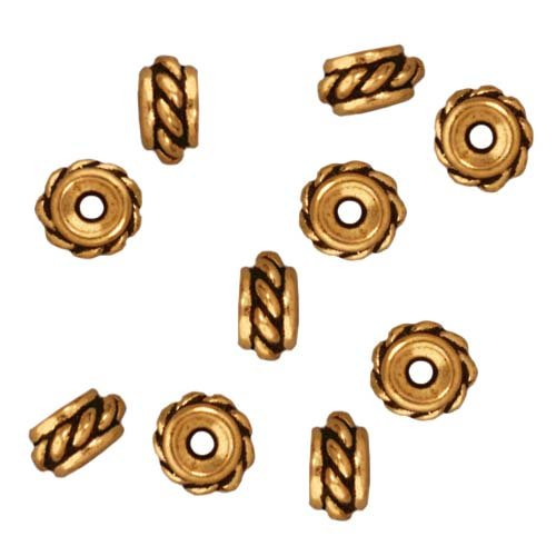 TierraCast Fine Gold Plated Pewter Twisted Hole Spacer Beads 6mm (10)