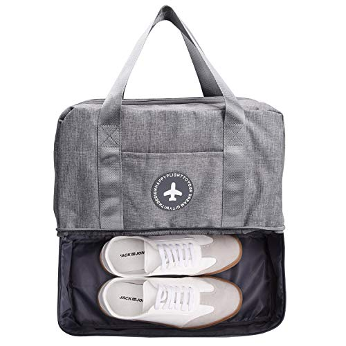 TOBWOLF Waterproof Gym Tote Bag, Sport Duffle Bag Backpack with Shoe Compartment Wet Pocket for Men and Women
