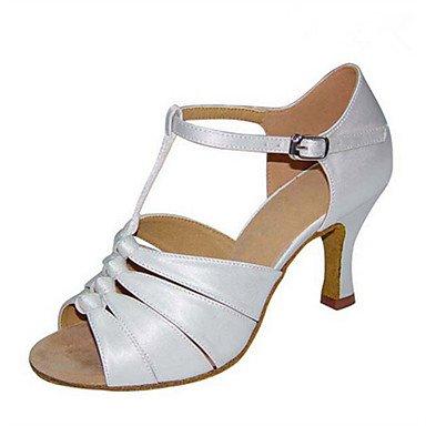 XIAMUO Anpassbare Damen Tanz Schuhe Satin Latin Jazz Swing Salsa Schuhe Sandalen angepasste HeelPractice Anfänger professionelle, Weiß, US 9 / EU 40/UK7/CN41