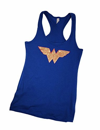 'Wonder Woman' Fitted Women's GLITTER Tank Top - Cotton, Polyester Blend (LG, Blue ()