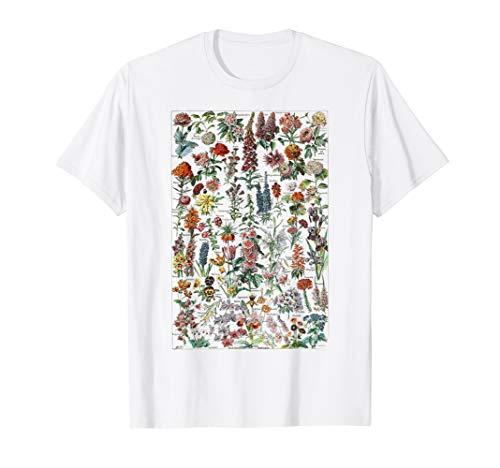 Vintage Flower Botanical Chart Floral Chart T-Shirt