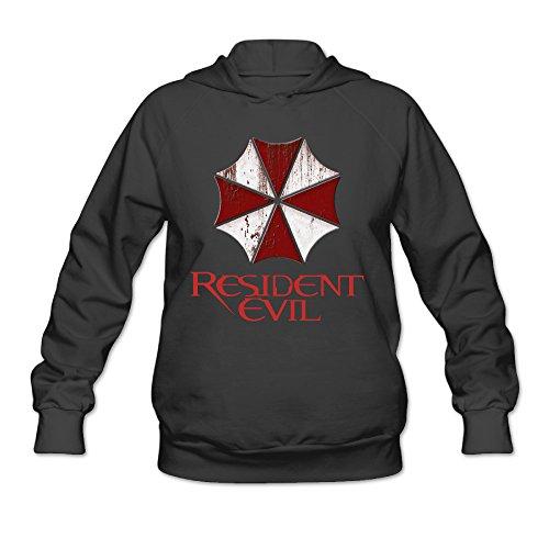 CEDAEI Women's Resident Evil Hoodies Hooded Sweatshirt Without Kangaroo Pocket Medium Black