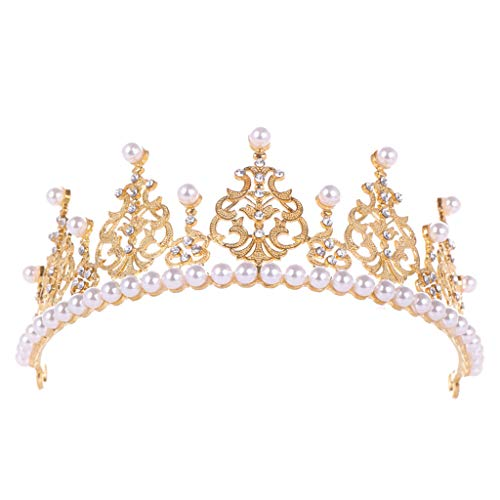 Wedding crown Redvive Top Elegant Crown Full Of Zircon Peal Headwear Headband Earrings Ladies Jewelry
