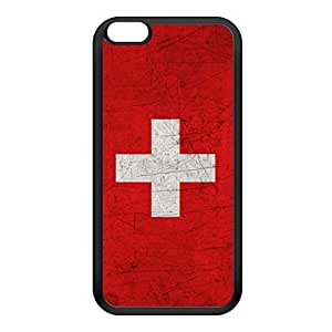 Old Grunge Metal Flag of Switzerland - Swiss Flag Black Silicon Rubber Case for iPhone 6 Plus by UltraFlags + FREE Crystal Clear Screen Protector