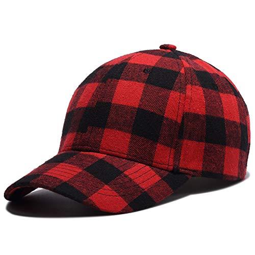 Perfashion Unisex Vintage Plaid Baseball Cap Adjustable Style Headwear Hip-Hop Hats (Cap Baseball Plaid Red)