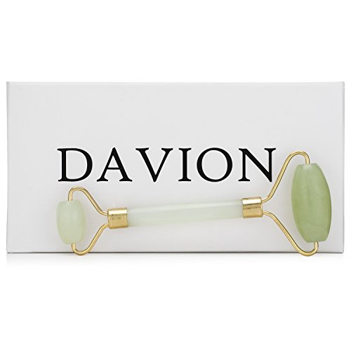 Jade Roller for Face by DAVION | 100% Real Jade Facial Roller for Face Eyes & Neck | Anti-Aging Wrinkle Repair |...