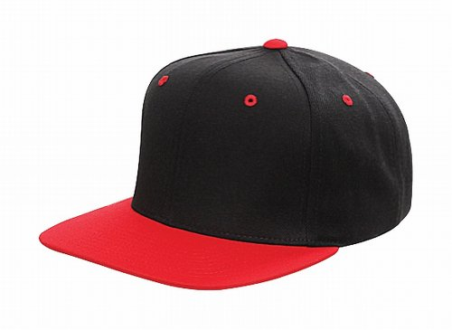 Original Yupoong Two-Tone Pro-Style Wool Blend Snapback Snap Back Blank Hat Baseball Cap 6098MT Black / Red (Pro Blend Cap Wool)