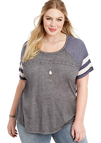 maurices Women's Plus Size 24/7 Ribbed Mix Baseball Tee 2 Gray Combo