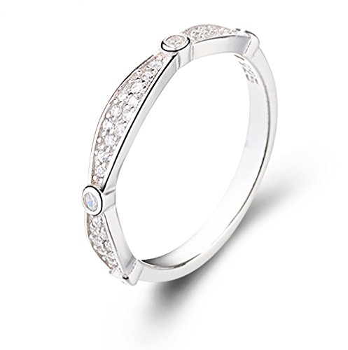 FarryDream Geniune White Gold Plated 925 Sterling Silver CZ Crystal Stacking Ring for Women Teen Girls Eternity Promise Ring (8)